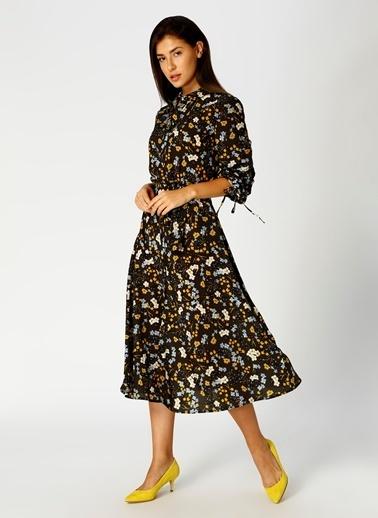 Fabrika Çiçekli Midi Elbise Haki